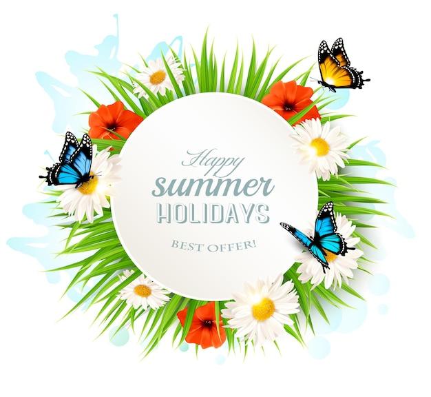 Joyeux fond de vacances d'été avec des coquelicots, des marguerites et des papillons.