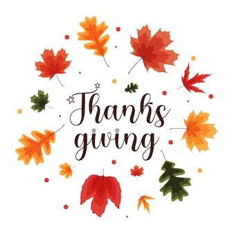 Joyeux fond de vacances de thanksgiving avec la chute des feuilles. illustration vectorielle