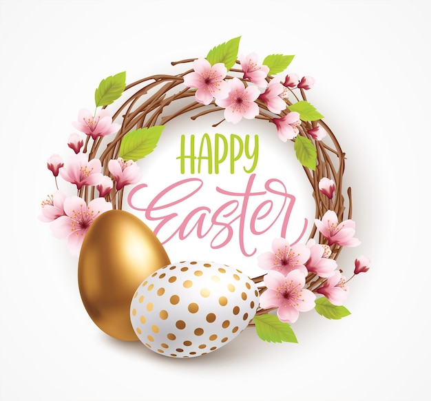 Joyeux fond de voeux de pâques avec des oeufs de pâques réalistes dans une couronne de fleurs de printemps. illustration vectorielle eps10