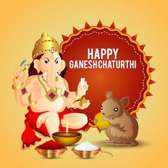 Joyeux ganesh chaturthi célébration carte de voeux avec illustration du seigneur ganesha