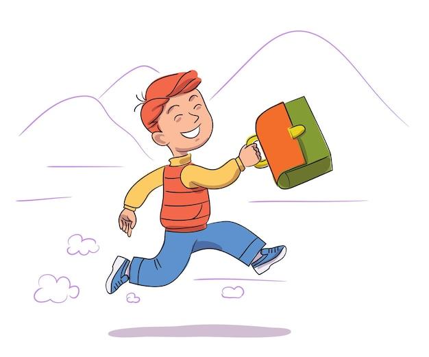 Joyeux garçon tient une mallette et court rapidement à l'école écolier souriant se précipite aux leçons