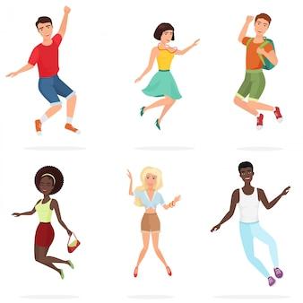 Joyeux groupe d'amis ados multiethic sauter.