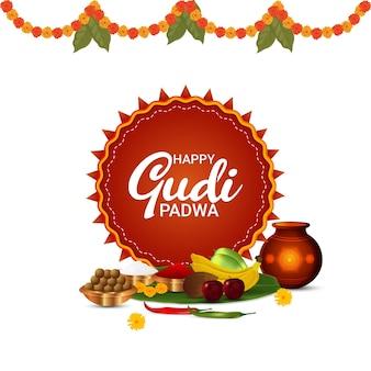 Joyeux gudi padwa avec kalash et fruits réalistes