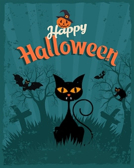 Joyeux halloween affiche vintage
