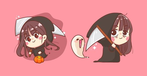 Joyeux halloween et ange de la mort ou faucheuse d'âme