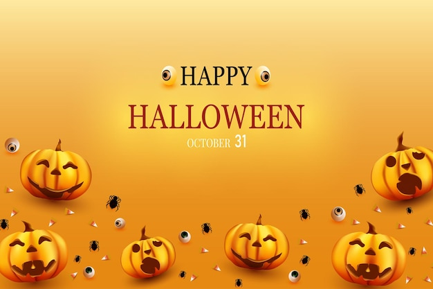 Joyeux halloween avec des arrière-plans d'araignée citrouille et de bonbons ci-dessous