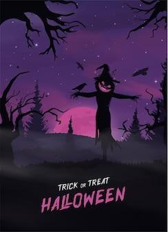 Joyeux halloween bannière ou fond d'invitation à la fête avec des nuages de brouillard violet et des citrouilles