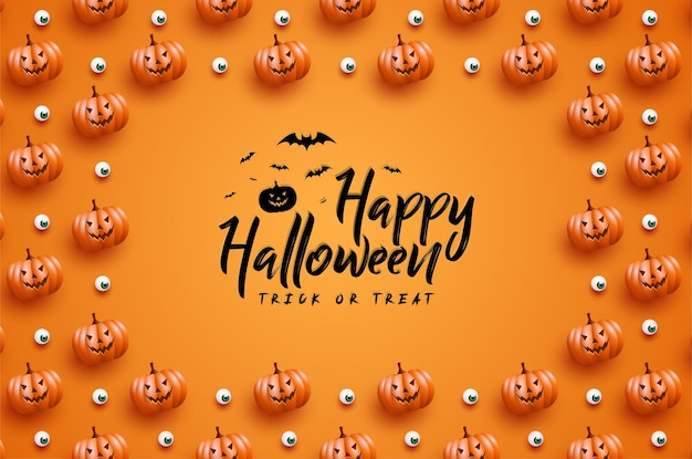 Joyeux halloween avec cadre de fond de citrouille effrayant