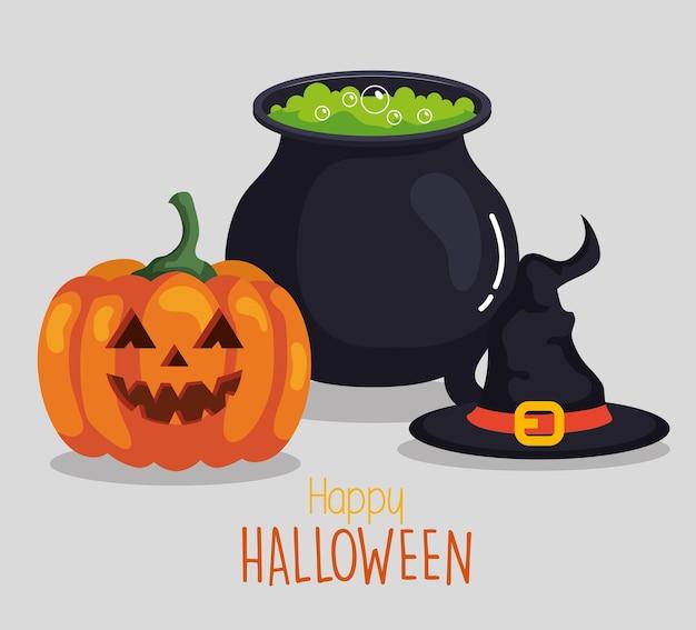 Joyeux halloween avec chaudron, chapeau de sorcière et citrouille