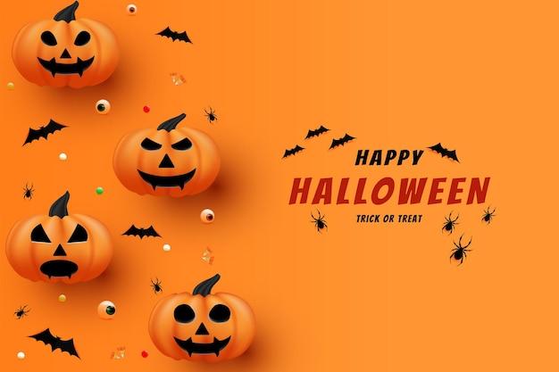 Joyeux halloween avec des chauves-souris survolant l'écriture