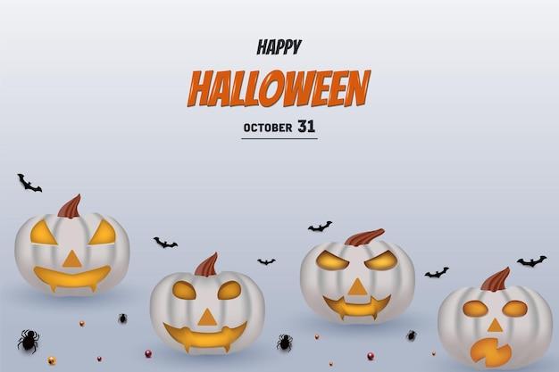 Joyeux halloween avec citrouille blanche avec effet de lueur jaune sur les yeux et la bouche de citrouille
