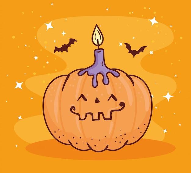 Joyeux halloween, citrouille avec bougie et chauves-souris volant conception d'illustration vectorielle