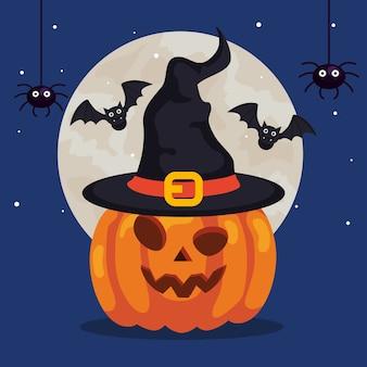 Joyeux halloween et citrouille avec chapeau sorcière, chauves-souris volant et araignées