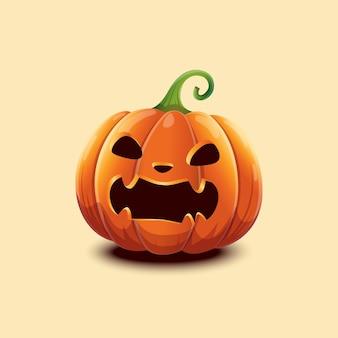 Joyeux halloween. citrouille d'halloween vectorielle réaliste. visage effrayant en colère halloween citrouille isolé sur fond clair. eps 10