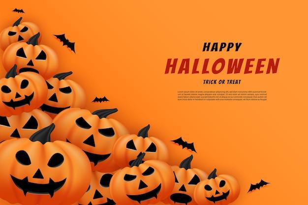 Joyeux halloween avec des citrouilles empilées avec des chauves-souris volantes