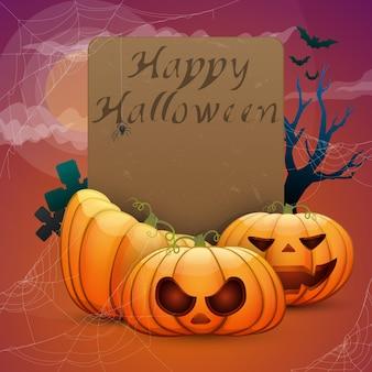 Joyeux halloween, citrouilles festives, toiles d'araignées, chauves-souris. carte prête à l'emploi pour la conception