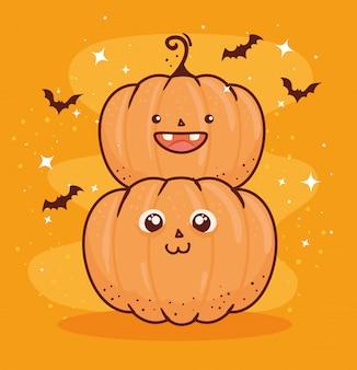 Joyeux halloween, citrouilles mignonnes et chauves-souris volant conception d'illustration vectorielle