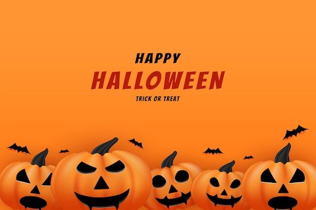 Joyeux halloween avec des citrouilles qui semblent s'aligner devant