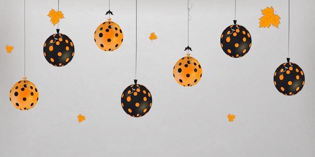 Joyeux halloween. concept de vacances avec des ballons d'halloween avec des feuilles d'automne pour bannière, site web, affiche, carte de voeux, invitation à une fête.