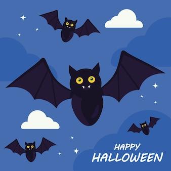 Joyeux halloween avec la conception de dessins animés de chauves-souris, les vacances et le thème effrayant.