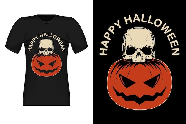 Joyeux halloween avec la conception de t-shirt vintage de crâne de citrouille
