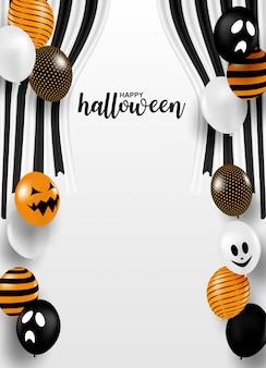 Joyeux halloween . concevoir avec fête de ruban et ballons noir-blanc