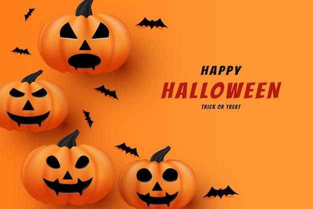 Joyeux halloween avec une décoration de chauve-souris noire plate et une vraie citrouille