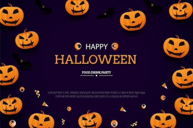 Joyeux halloween avec une décoration de citrouille orange