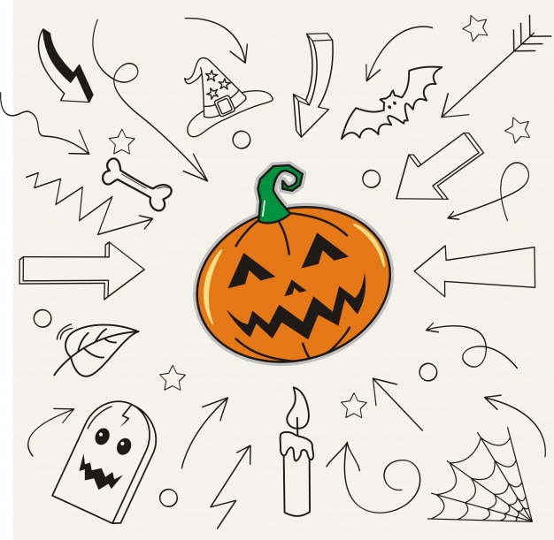 Joyeux halloween et élément sur fond de papier