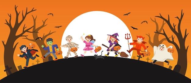 Joyeux halloween. enfants vêtus de déguisements d'halloween pour aller trick or treating.modèle pour brochure publicitaire.