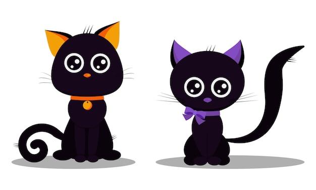 Joyeux halloween ensemble de mignons chats noirs isolés sur fond blanc.