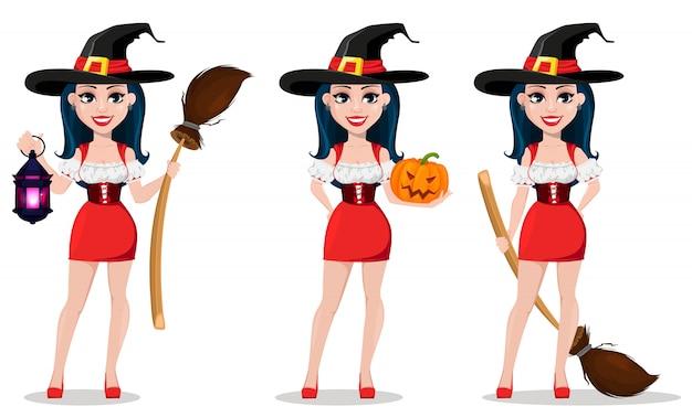 Joyeux halloween, ensemble. sorcière sexy