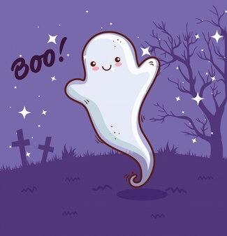 Joyeux halloween, fantôme dans la conception d'illustration vectorielle scène cimetière