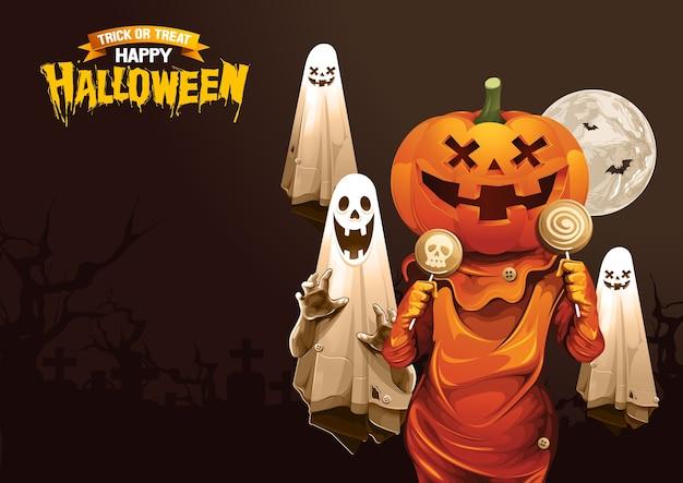 Joyeux halloween, fantôme, friandise ou astuce.