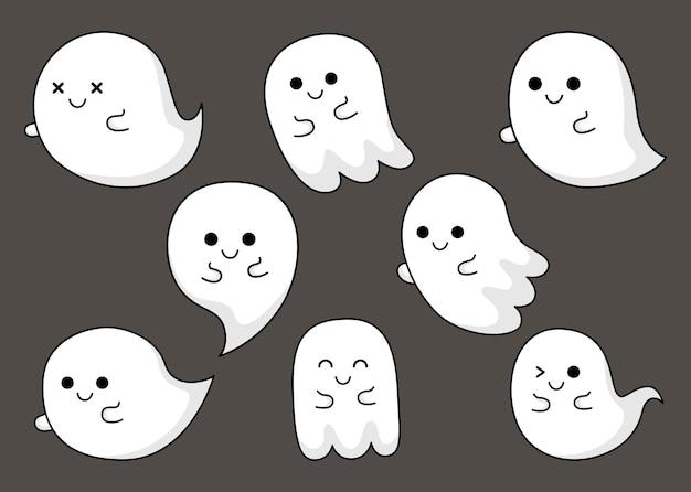 Joyeux halloween fantôme mignon effrayant avec différents visages isolés sur fond gris