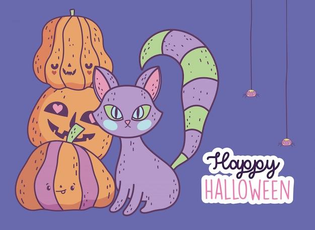 Joyeux halloween fête effrayant chat et pile de citrouilles