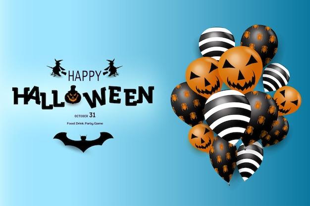 Joyeux Halloween Avec Fond De Ballon Ballon Sur Le Côté Vecteur Premium