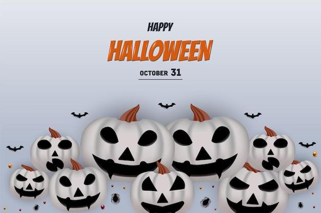 Joyeux halloween sur fond blanc avec des chauves-souris citrouilles et des bonbons
