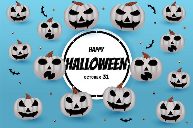 Joyeux halloween sur fond bleu clair avec décoration citrouille et chauve-souris