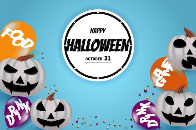 Joyeux halloween sur fond de cercle blanc avec décoration de citrouille en bas
