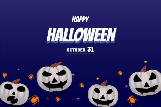Joyeux halloween sur fond de citrouille blanche avec des bonbons et une araignée orange