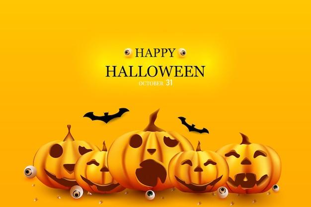 Joyeux halloween avec fond de citrouille ci-dessous et bonbons pour les yeux