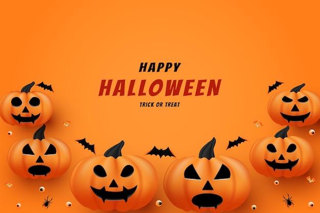 Joyeux halloween sur fond de citrouille avec décoration chauve-souris et bonbons