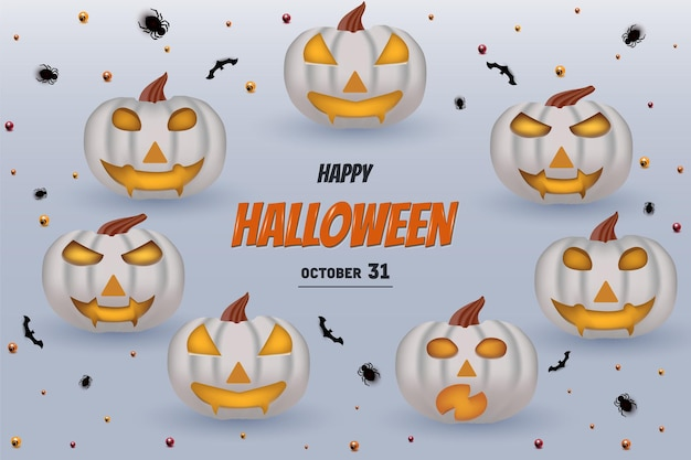 Joyeux halloween avec fond de citrouilles et de chauves-souris décorant le lettrage