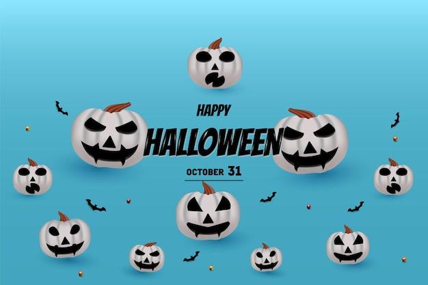 Joyeux halloween sur fond de citrouilles et de chauves-souris volant d'en bas