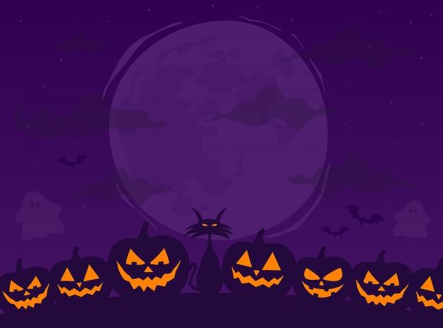 Joyeux halloween. fond effrayant avec lune, citrouilles. illustration vectorielle.