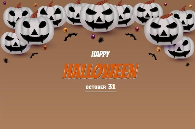 Joyeux halloween sur fond marron avec décoration citrouille sur l'écriture