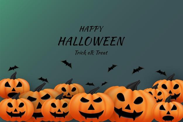 Joyeux halloween sur fond orange citrouille et chauves-souris volantes