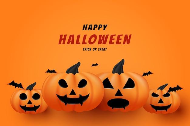 Joyeux halloween sur un fond plat de citrouille sous l'inscription