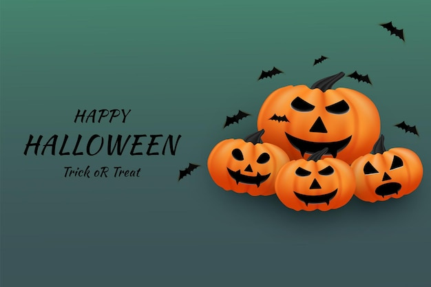 Joyeux halloween sur fond de tas de citrouilles à côté de l'inscription